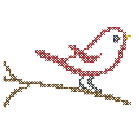 Mini Cross Stitch Pattern Bird on Branch - Dollar Cross Stitch Quick and Easy