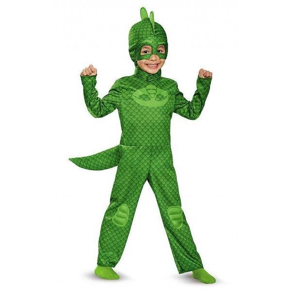 IN ARRIVO A MARZO-IN RIASSORTIMENTO NELLE TAGLIE 2T 3-4T 4-6X Essere un bambino normalissimo di giorno e trasformarsi di notte in un supereroe che combatte il crimine e i cattivi! Trasforma il tuo cucciolo in Geco dalla tuta in due sfumature di verde con maschera, coda,una solida cresta lucertolosa sul cappuccio....questo costume riproduce fedelmente le caratteristiche del personaggio della serie animata tanto amata dai bambini. Di giorno Greg e di sera Gego!Con questa maschera il tuo…