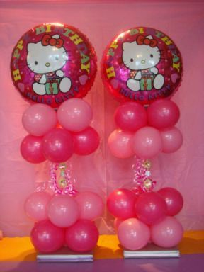Muy Ameno: Fiestas Infantiles, Decoración Hello Kitty, Centros de Mesa