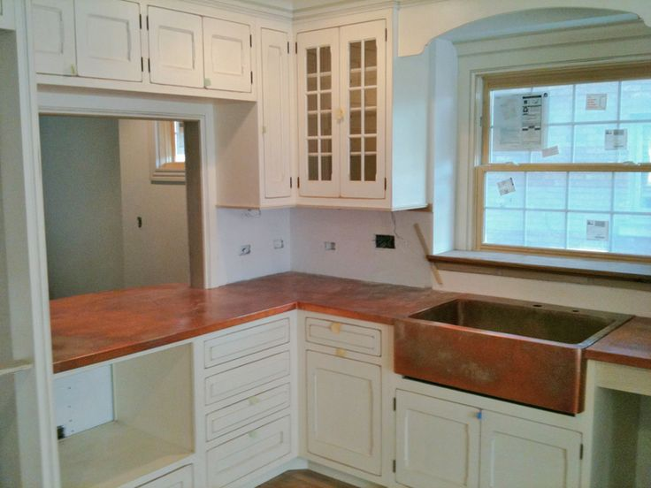 Countertops And Backsplashes Aged Kitchen Countertop With Copper Farmhouse Sink Pass