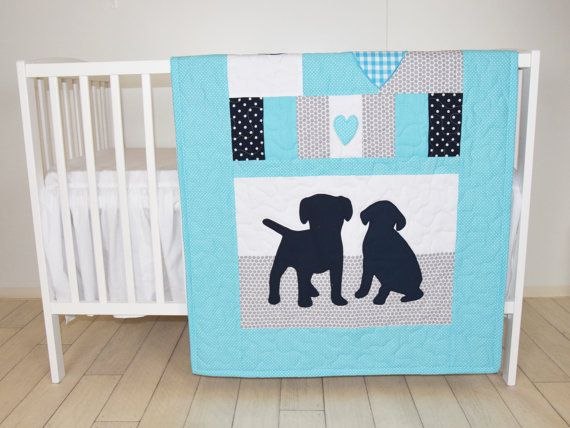 Puppy-themed quilt. Perfect for little pet lovers and future dog owners. Excellent gift idea for those, who expecting twins. Let me know what