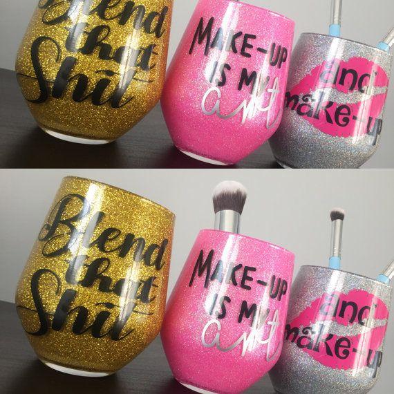 Glas make-up borstel houder make-up door DollyDazzleandDesign