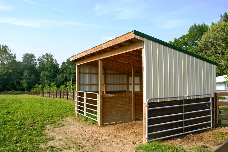 My run-in shed is designed like this, but I have a third stall where I store my hay, and use the gate to keep the horses out.