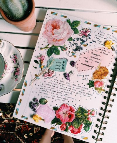 roses, bel air / art journals / tumblr / art / journal / writing / drawing / paint / color / write / express yourself / do art / create / be creative / washi tape / illustration / aesthetic / words / sketchbook / art life / watercolor / pen / ink / painting / paper / pages / spread / journal spread / mixed media / scrapbook / smashbook / collage / cut and paste / journal entries / artistic / polaroids / glue /