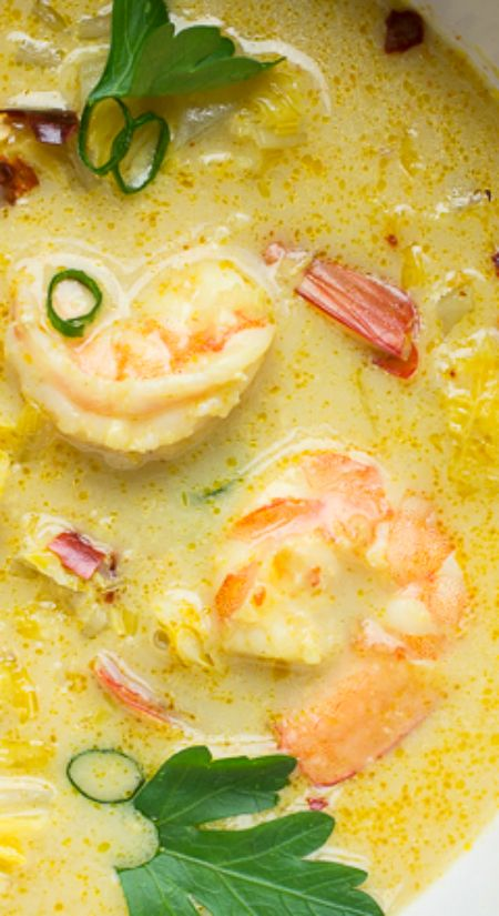 Thai Coconut Shrimp Soup ~ This soup, with flavors of creamy coconut, spicy red chilis and a bit of curry, finds balance with citrusy lemongrass and lime... The end result is delicious.