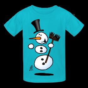 Dancing snowman Kids T-Shirt. #Spreadshirt #Cardvibes #Tekenaartje #Winter