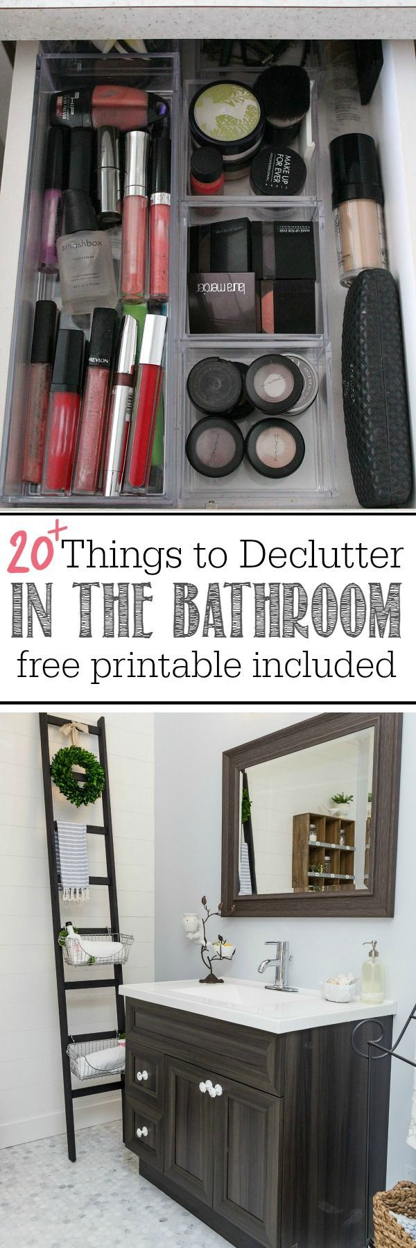 Follow these bathroom decluttering tips and download your free printable for 20 things to declutter from the bathroom!