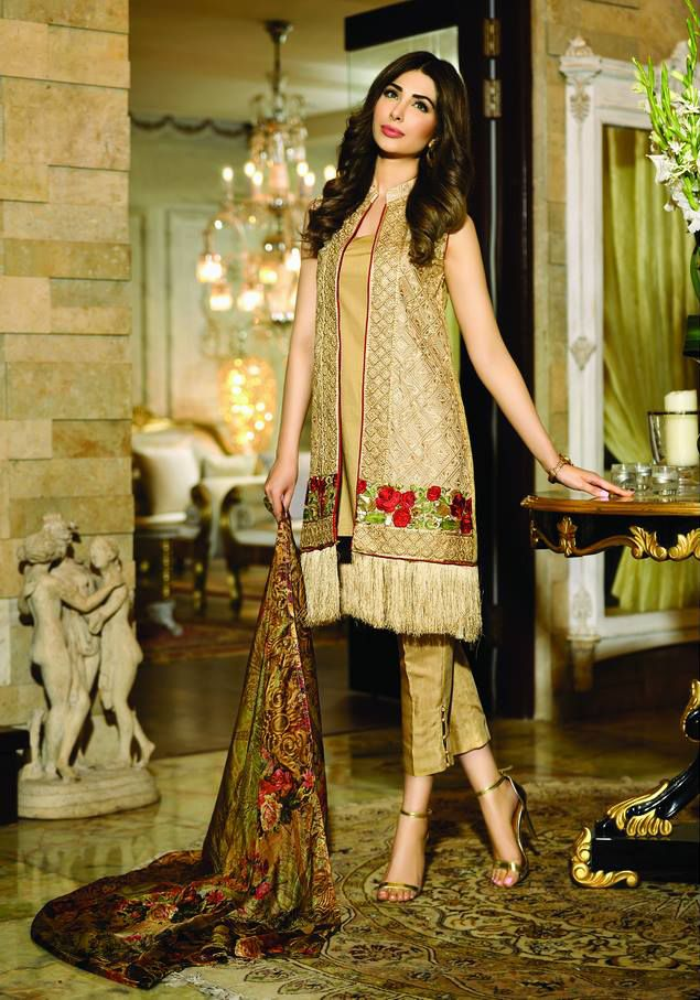 Buy Golden Zarqash Embroidered Silk Dress for Girls by PakRobe.com Contact: (702) 751-3523 Email: info@pakrobe.com Skype: PakRobe