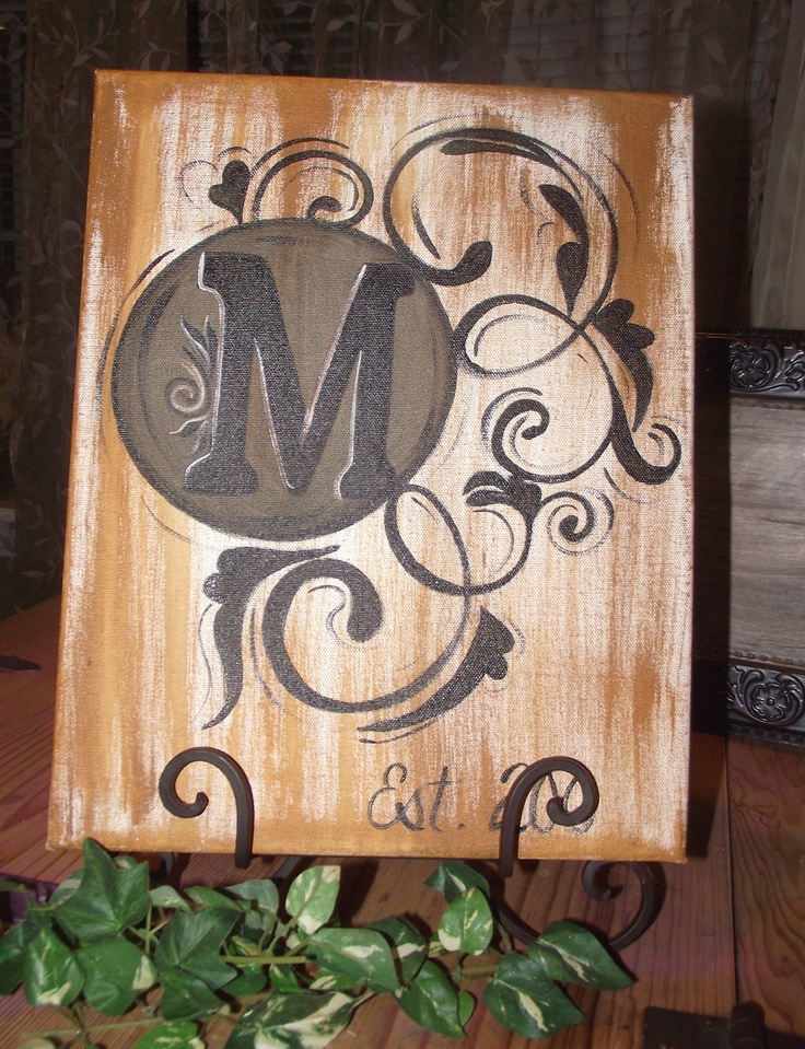 handpainted monogrammed canvas 11x17