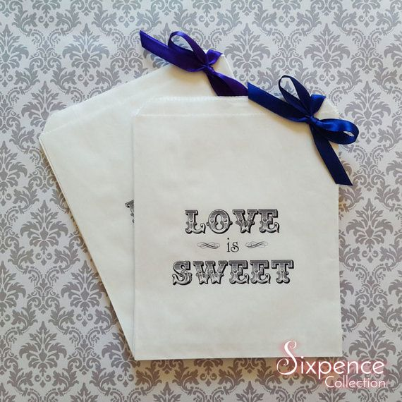 Love is Sweet White Paper Candy Buffet Lolly Bags x 50