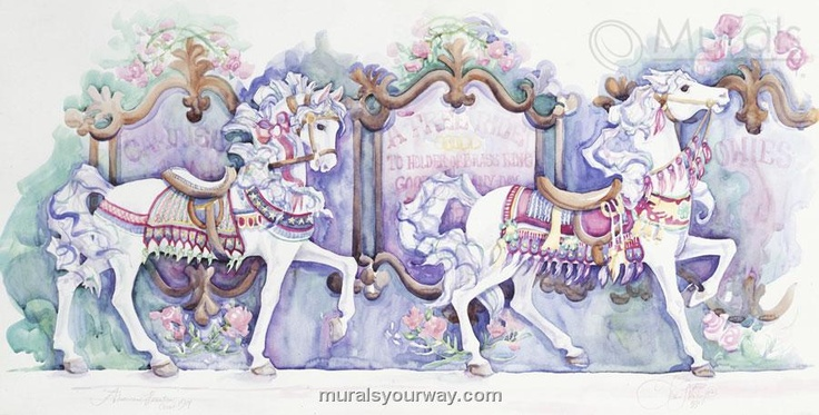 355 best images about carousels on pinterest parks for Carousel wall mural