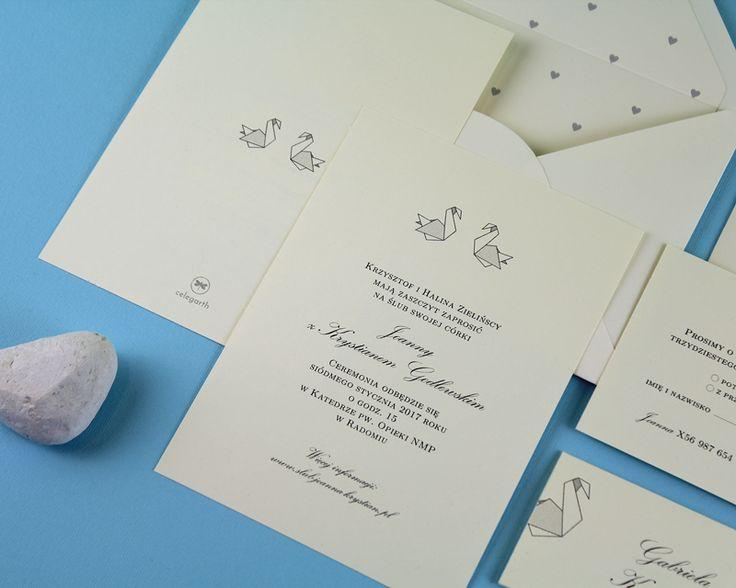 Pracownia Celegarth | Minimalizm | Twin Swans | #zaproszenia #eleganckie #invitations #zaproszeniaslubne #weddinginvitations #minimalizm #minimalism #swans #celegarth #slub #wedding #papeteria #stationery #papeteriaslubna #weddingstationery #design #slubnydesign #weddingdesign
