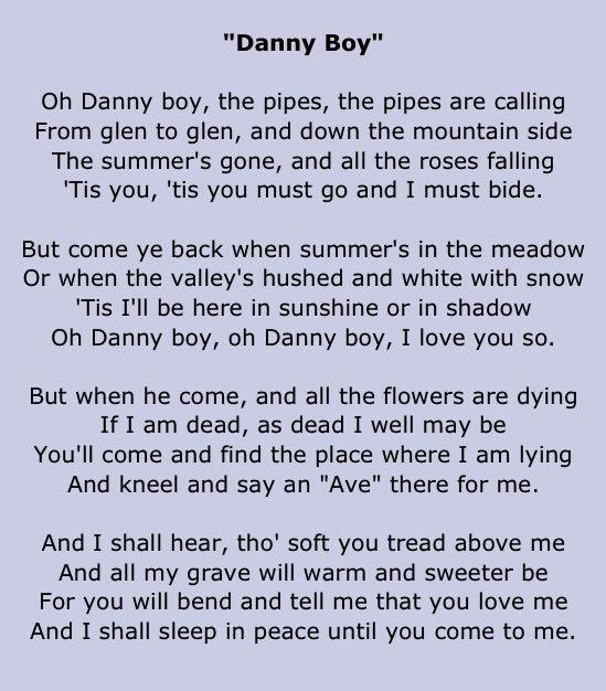 o danny boy lyrics pdf