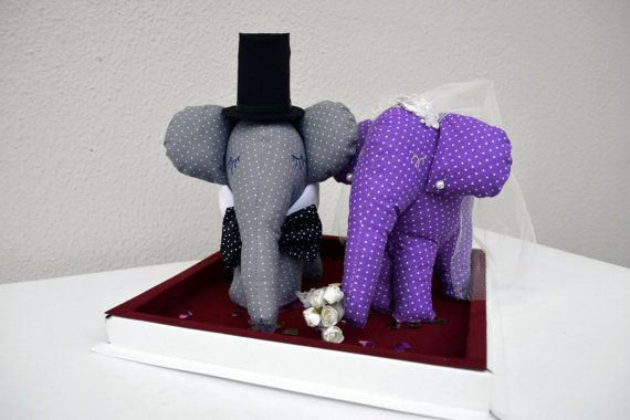 Bride and Groom Elephant Wedding Decoration by penhands on Etsy, €40.00