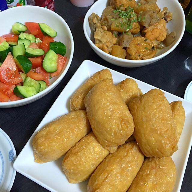 初午なのでおいなりさんです♪ - 9件のもぐもぐ - 今日の晩ご飯は、おいなりさん、大根と手羽元の甘辛煮、きゅうりとトマトのサラダ。 by sakuyue