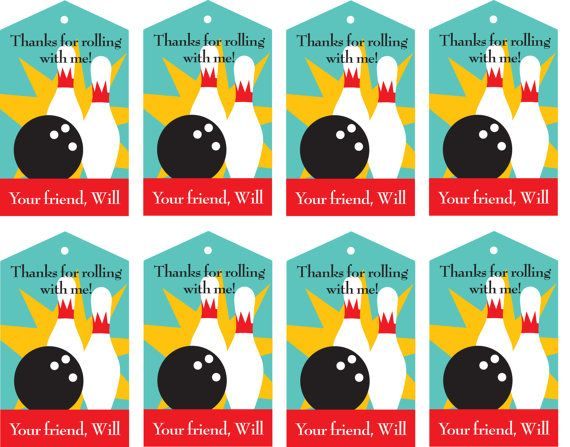 DIY Printable Bowling Party Favor Thank You Tags by bugluv on Etsy,