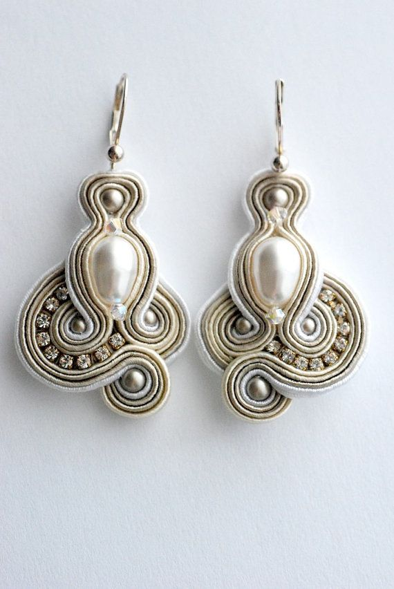 Free shipping .Bridal SOUTACHE earringsHandmade by BlackOutDesign