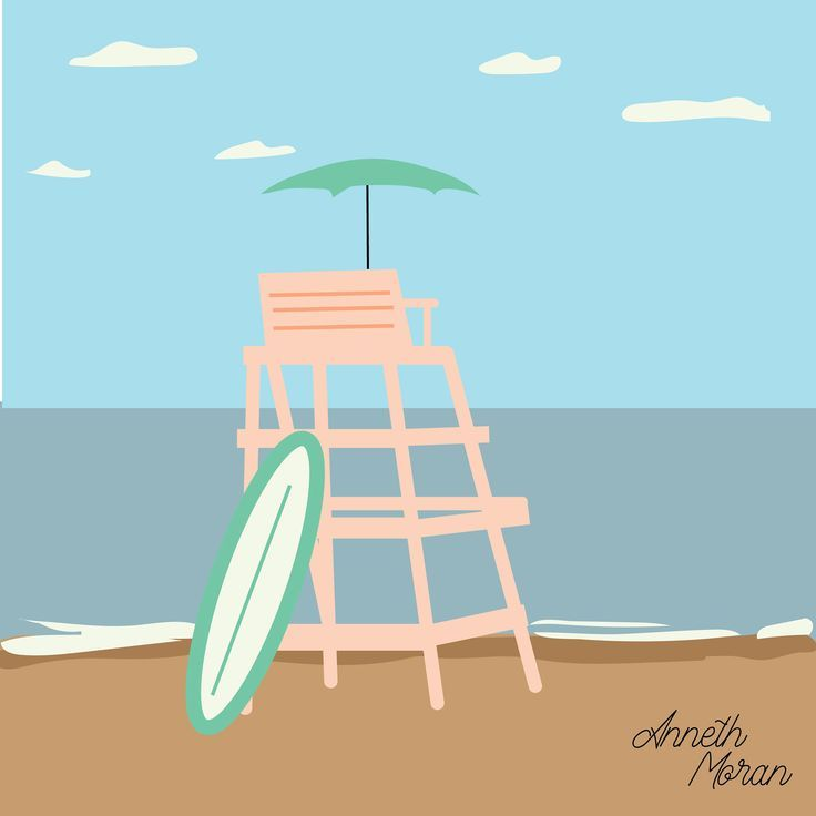 Anneth Moran Pastel Color Illustrations Beach Chair Illustration Summer Vibe Anneth Beach Chairs Summer Vibes Summer Illustration
