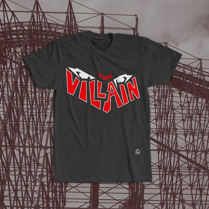 """The Villain Geauga Lake T-Shirt. The Villain was a classic rollercoaster at Geauga Lake - a now permanently closed amusement park in Aurora, Ohio. The opening date of the coaster was in May 2000 and was much loved by coaster fans until its closing in 2007. It had a wooden track, but also had steel supports making it a wooden hybrid """"out and back"""" style ride. After years at Geauga Lake and Six Flags, The Villain was demolished and sold for scrap #geaugalake"""