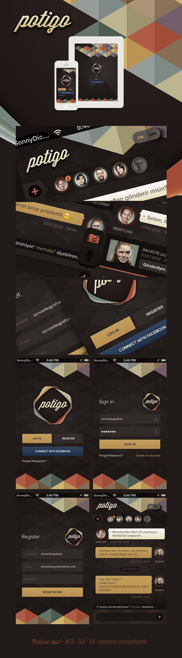 Potigo Chat Application (concept) by Sencer Bugrahan, via Behance #app #gui #ui #behance