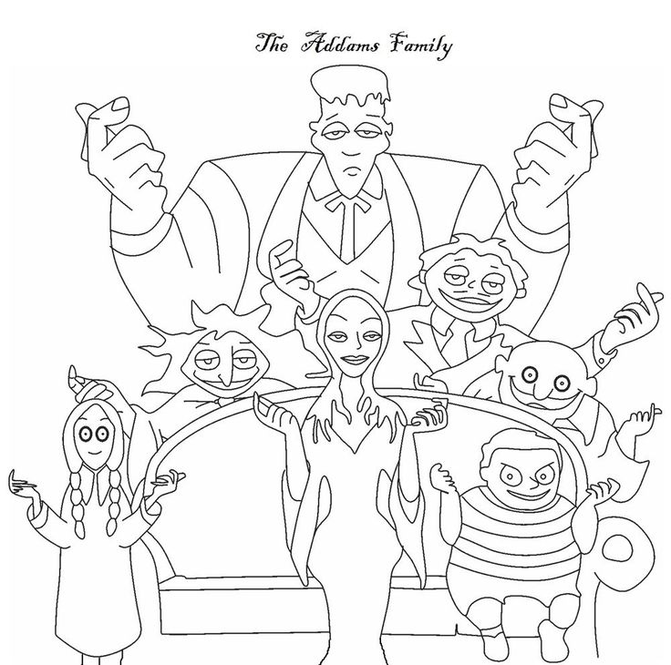 The Addams Family coloring pages along with Tons of Others -  Download & print for DIY coloring pages - Great when friends are over