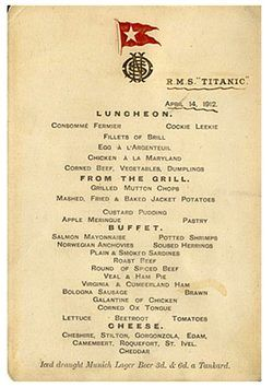Lunch menu for 1st class: History, Lunch Menu, Rmstitanic, April 14, Lunches, Ship, Rms Titanic