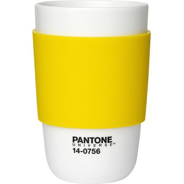 PANTONE Empire Yellow classic cup ($20) ❤ liked on Polyvore featuring home, kitchen & dining, drinkware, filler, melamine cups, yellow cups, melamine coffee cups, yellow coffee cups and pantone cups