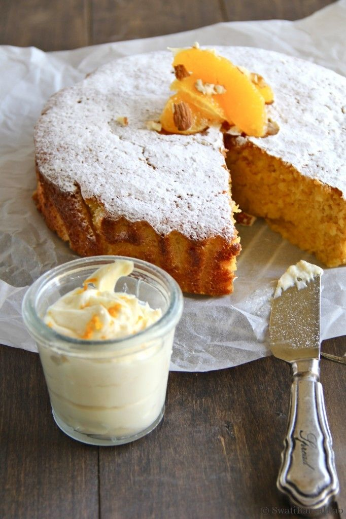 Gluten Free Orange Almond Cake with Orange Mascarpone Cream