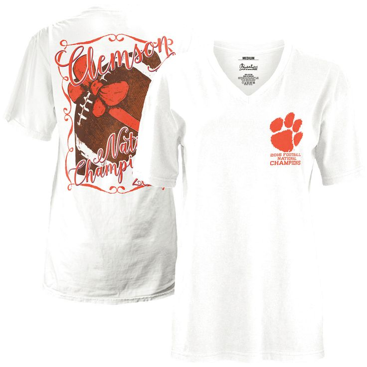 Clemson Tigers Women's College Football Playoff 2016 National Champions Football Bow V-Neck T-Shirt - White - $29.99