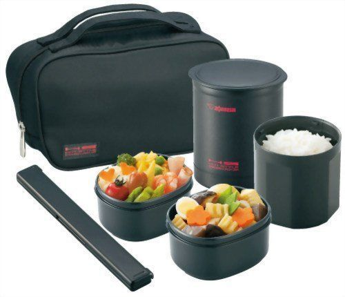 Zojirushi SZ-KA02-BE Thermal Bento Warm Slim Lunch Box for Men (Mat Black)