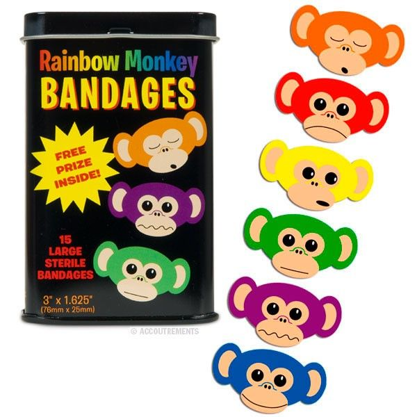 Rainbow Monkey Bandages, Great for teacher to use in the classroom! Kids love them!