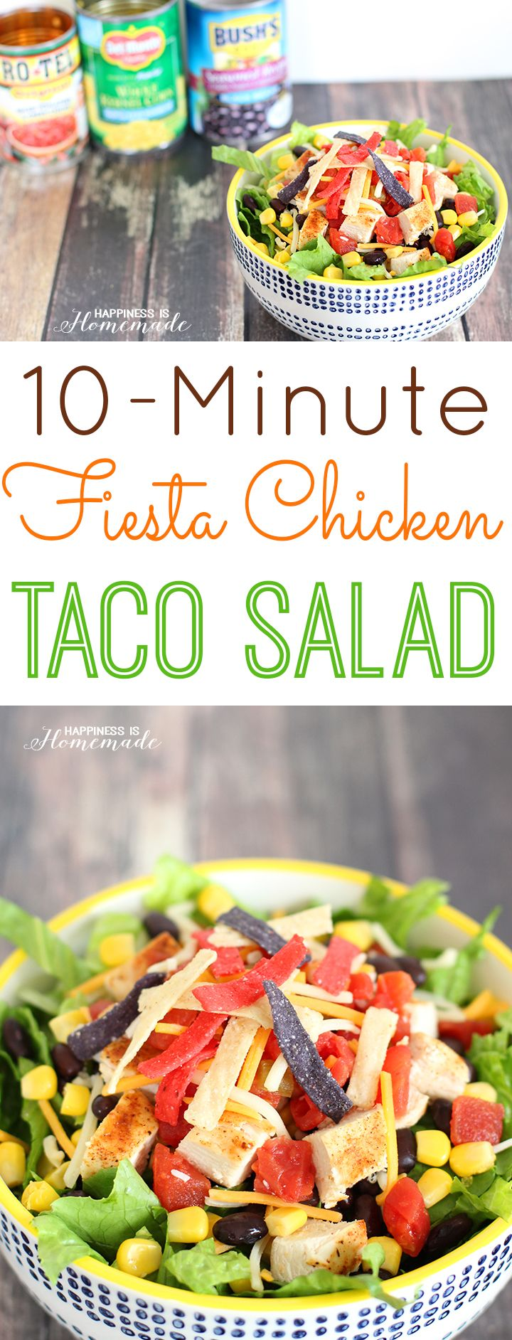 10-Minute Fiesta Chicken Taco Salad - this is my favorite lunch of all time! So easy, and packed full of flavor!