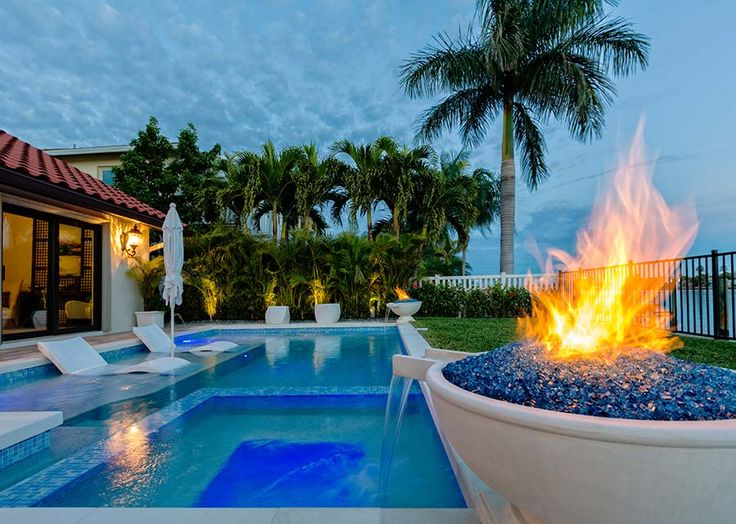 128 best pool fire feature images on pinterest luxury - Pool fire bowls ...
