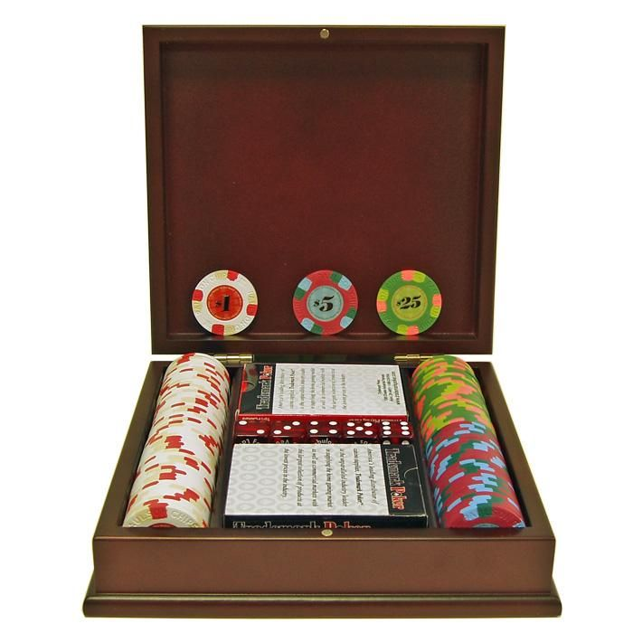 100 Paulson® Tophat & Cane Clay Poker Chips w/Wooden Case