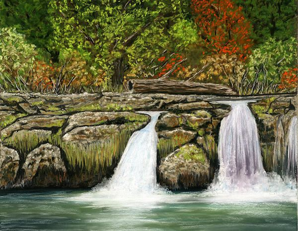 "Little Waterfalls. Pastel on Pastelmat. Size 13""x10½""  Fine Art Prints and Greeting Cards from Fine Art America."