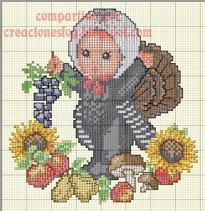 creaciones FOG: gráfico bebé disfrazado de pavo (punto de cruz)