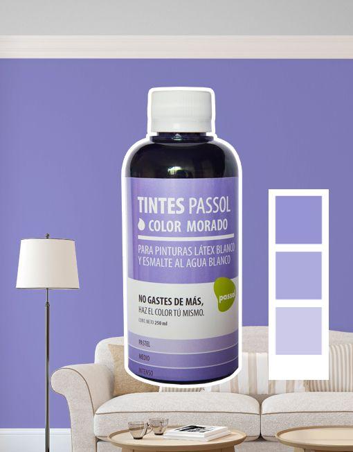 Tinte Passol Morado para mezclar con pinturas LÁTEX y ESMALTE al agua de Passol.