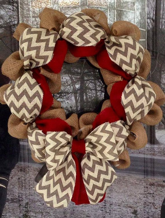 Chevron Burlap Wreath 2022 inch for front by SimplyBlessedGift