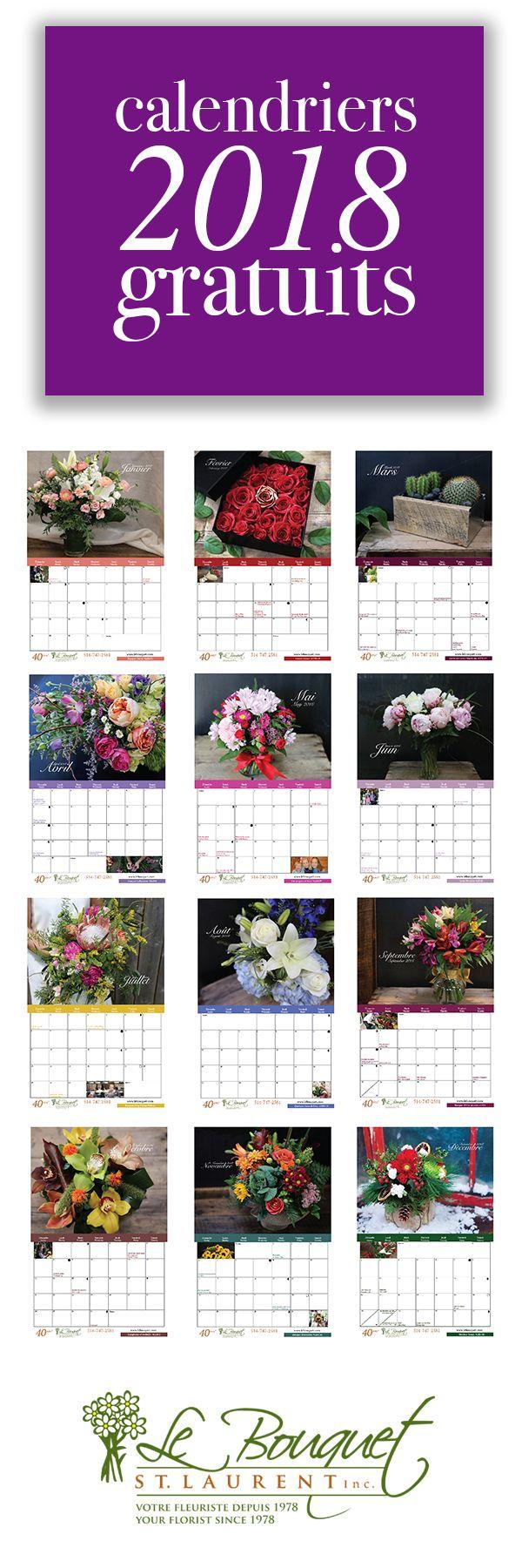 Téléchargez votre calendrier gratuit!  Two styles from fleuriste Le Bouquet St Laurent