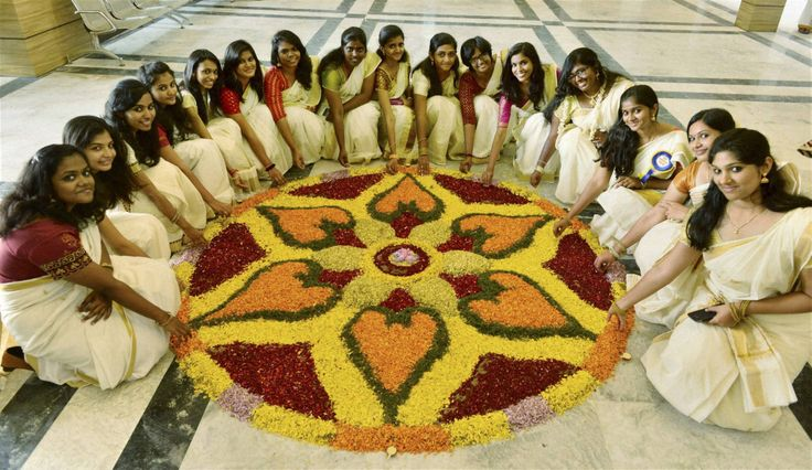 Onam Festival is today in Kerala, India! People make these flower carpets called…