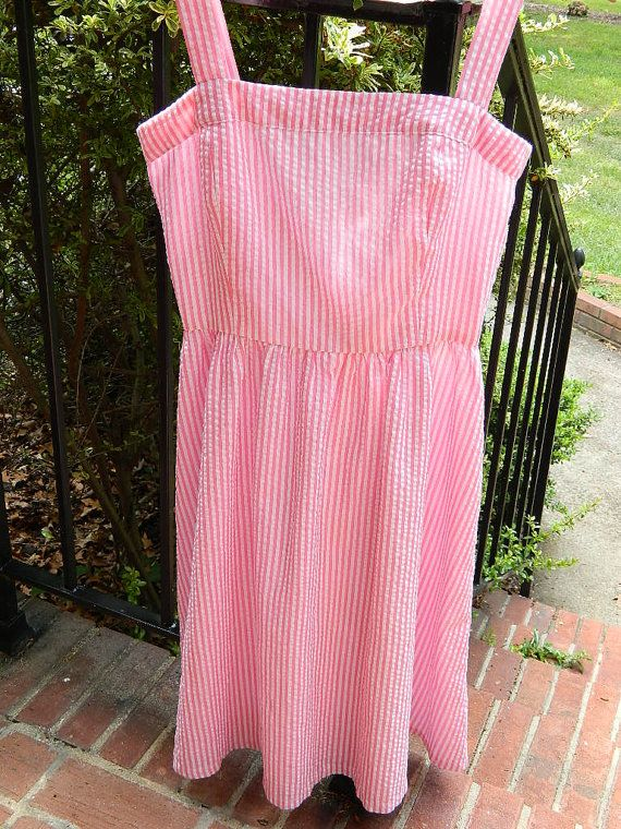 Juniors  Ladies Seersucker Sundress  Pink and White by lynnedowns, $48.00