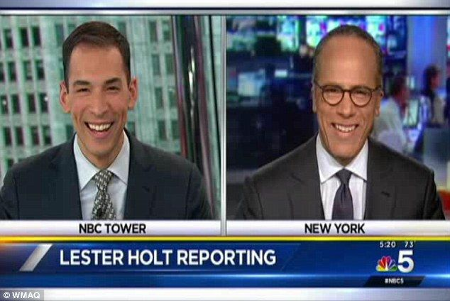 Father to son: NBC Nightly News host Lester Holt, right, shared a sweet exchanged with his son Stefan, left, who handed over to him after a 5pm newcast