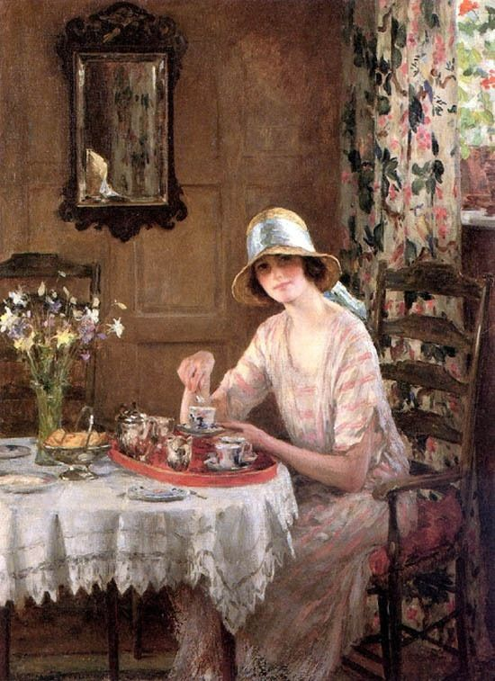 """Afternoon Tea"" by William Henry Margetson - More at http://www.artistsandart.com/2011/07/british-painter-william-henry-margetson.html (Thx Marie-Louise)"