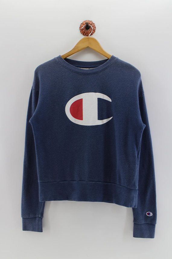 Vintage 90s New Champion Youth Large Spell Out Casual Crewneck Sweater Gray