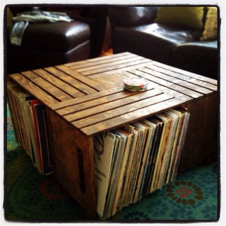 Record Holder Coffee Table Crate Coffee Table By Recirclematter On