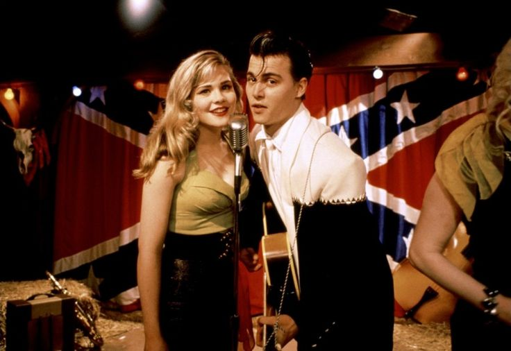 """Amy Locane (as Allison Vernon-Williams) and Johnny Depp (as Wade """"Cry-Baby"""" Walker) in John Waters' Cry-Baby, 1990"""