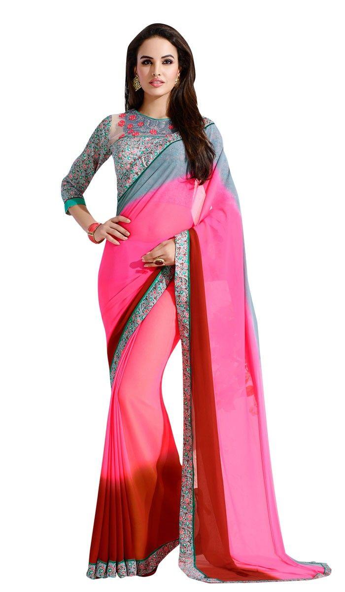 buy saree online Multi Colour Georgette Printed Party Wear Saree Buy Saree online - Buy Sarees online