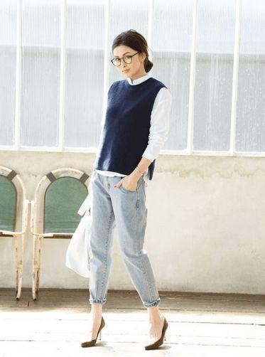 コットン素材なら夏でも着れる♪おしゃれなニットベストのコーデ☆スタイル・ファッションの参考に♪