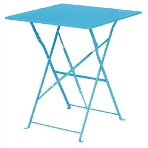 Bolero Seaside Blue Pavement Style Steel Table Square 600mm diameter  GK985