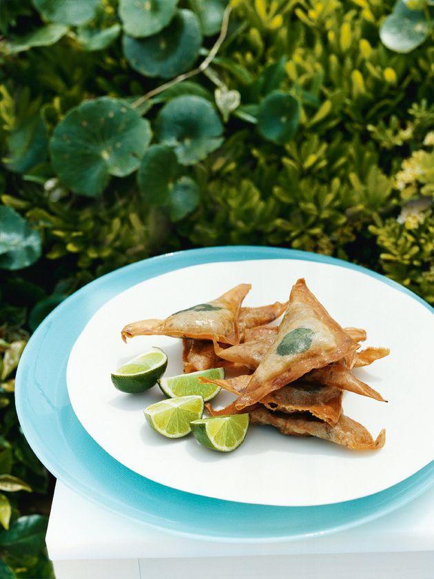 lemongrass crab triangles